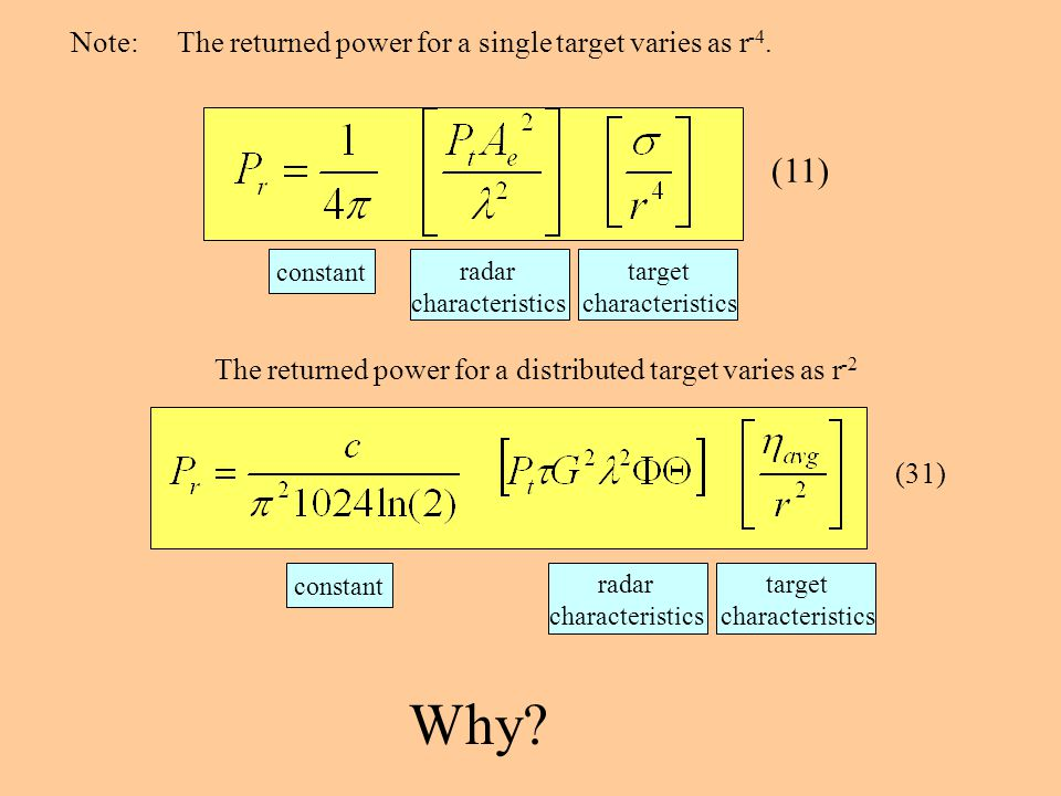 Why (11) Note: The returned power for a single target varies as r-4.