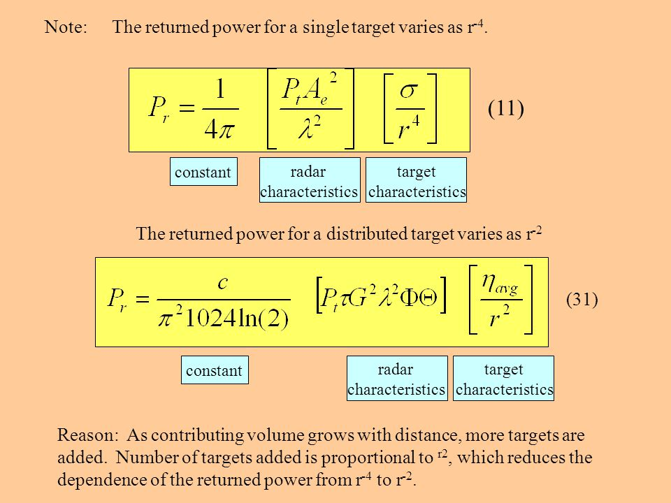 (11) Note: The returned power for a single target varies as r-4.