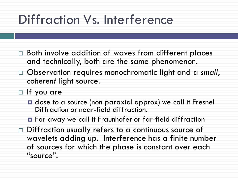 Diffraction Vs. Interference