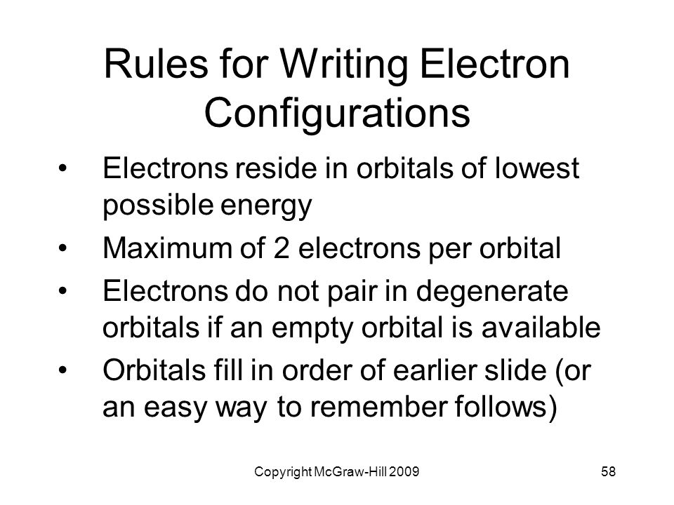 Rules for Writing Electron Configurations