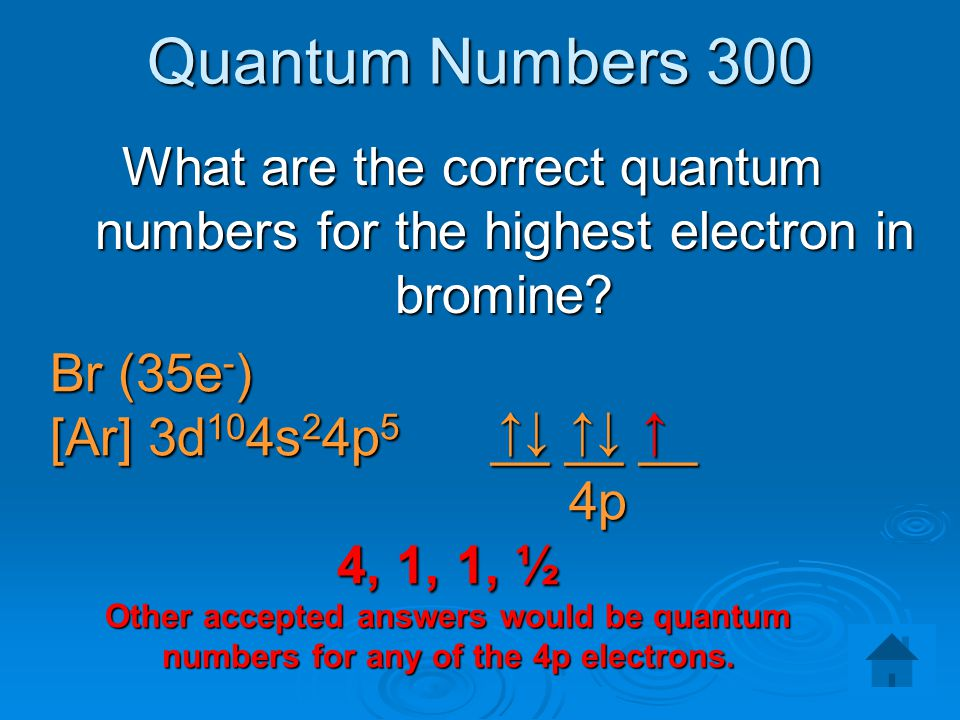 Quantum Numbers 300 What are the correct quantum numbers for the highest electron in bromine Br (35e-)