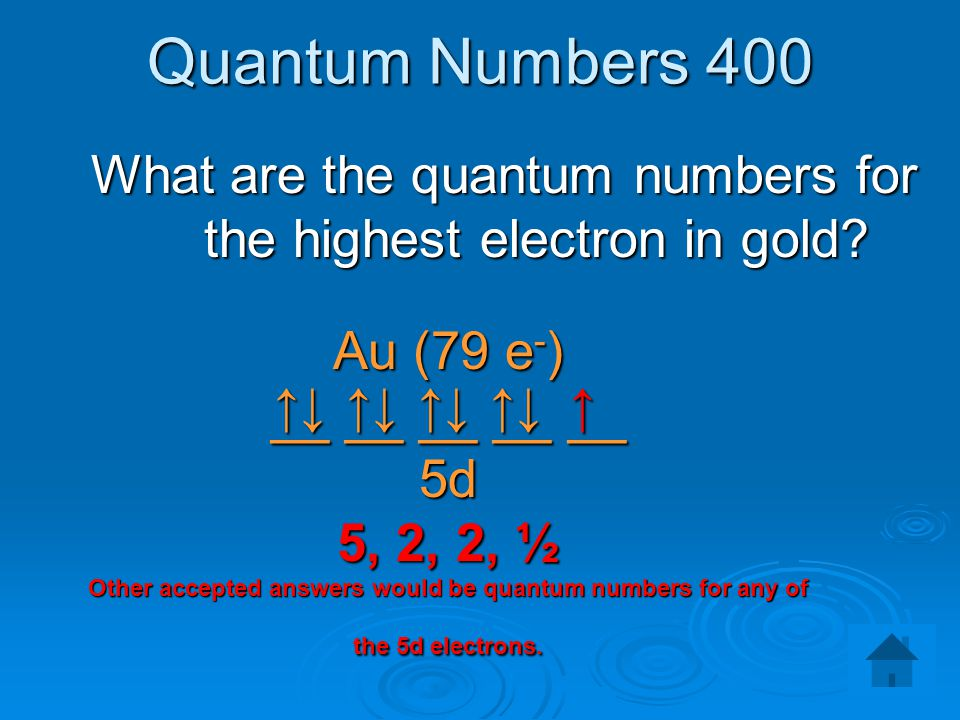 What are the quantum numbers for the highest electron in gold