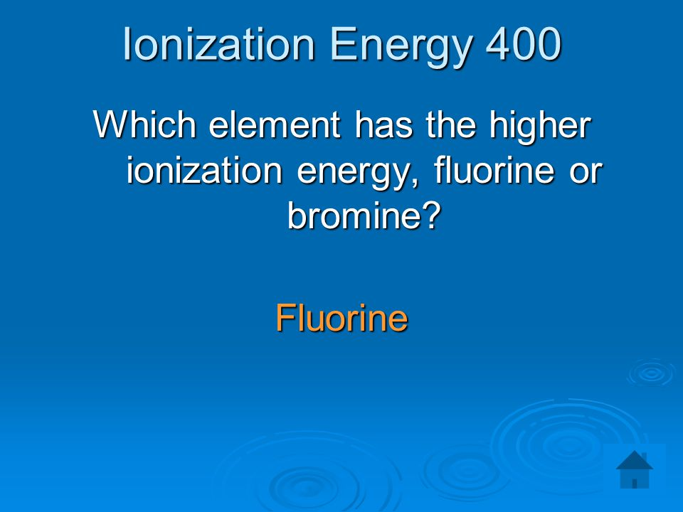 Which element has the higher ionization energy, fluorine or bromine