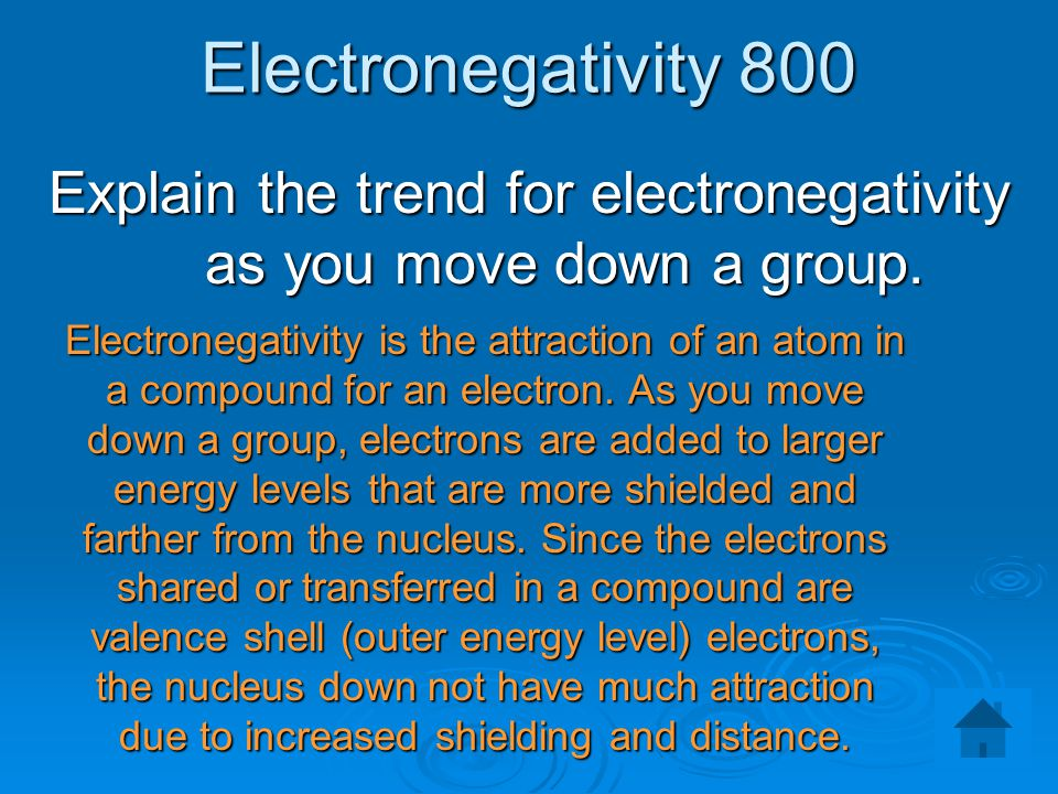 Explain the trend for electronegativity as you move down a group.