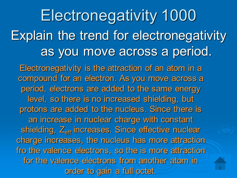 Explain the trend for electronegativity as you move across a period.