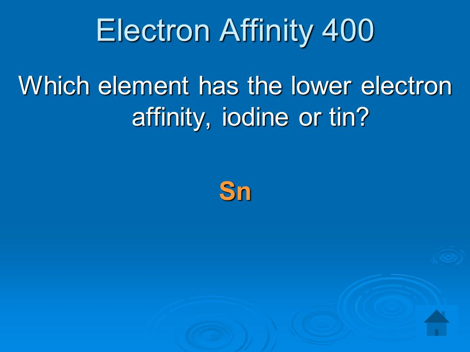 Which element has the lower electron affinity, iodine or tin