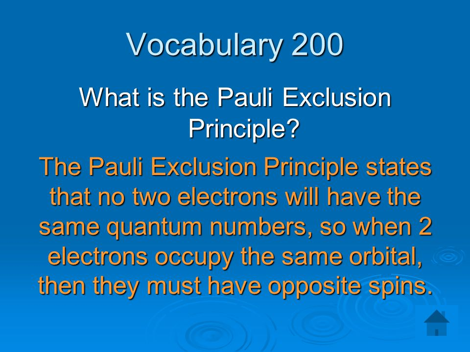 What is the Pauli Exclusion Principle