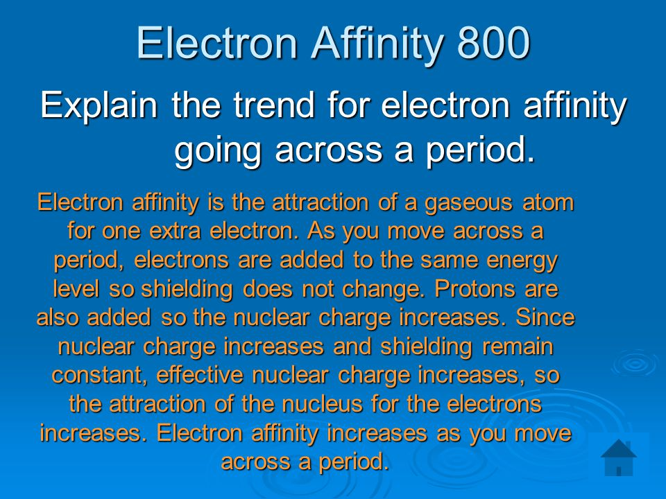Explain the trend for electron affinity going across a period.