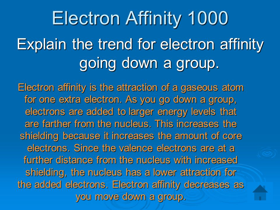 Explain the trend for electron affinity going down a group.