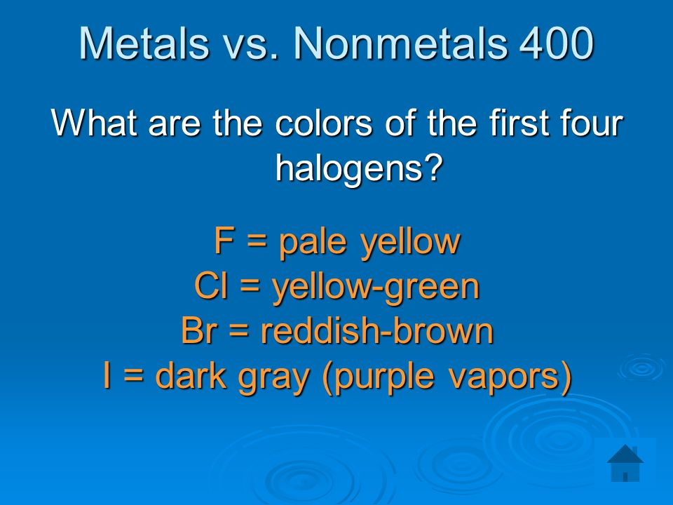 Metals vs. Nonmetals 400 What are the colors of the first four halogens F = pale yellow. Cl = yellow-green.