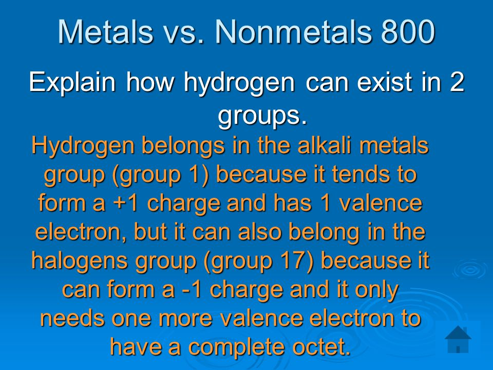 Explain how hydrogen can exist in 2 groups.