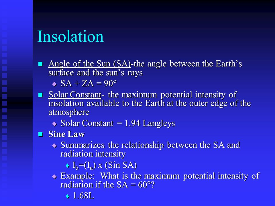 Insolation Angle of the Sun (SA)-the angle between the Earth's surface and the sun's rays. SA + ZA = 90°