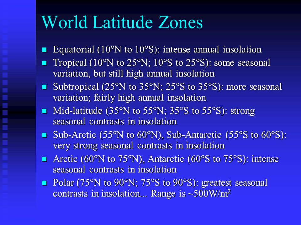 World Latitude Zones Equatorial (10°N to 10°S): intense annual insolation.