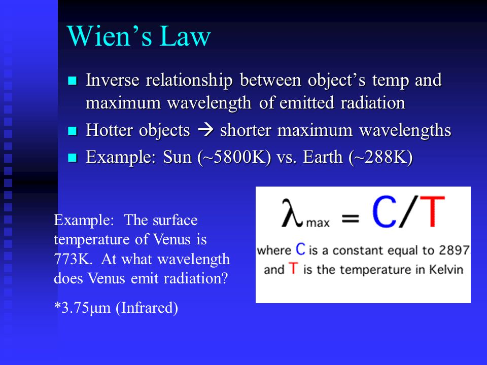 Wien's Law Inverse relationship between object's temp and maximum wavelength of emitted radiation. Hotter objects  shorter maximum wavelengths.