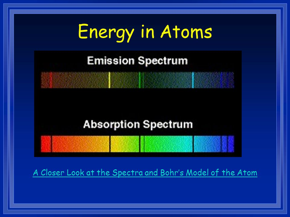 A Closer Look at the Spectra and Bohr's Model of the Atom