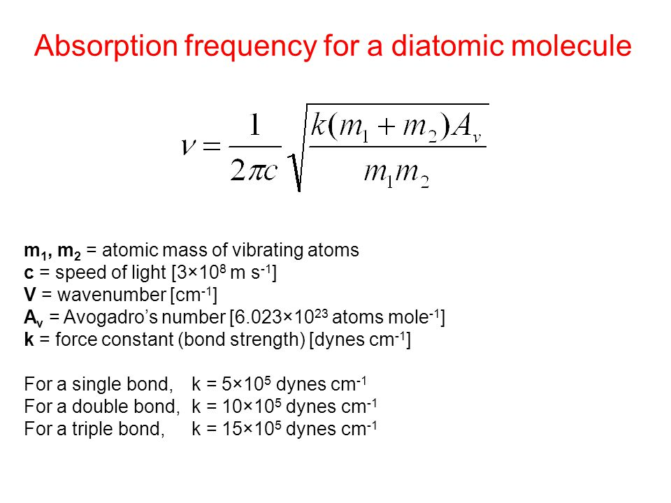 Absorption frequency for a diatomic molecule