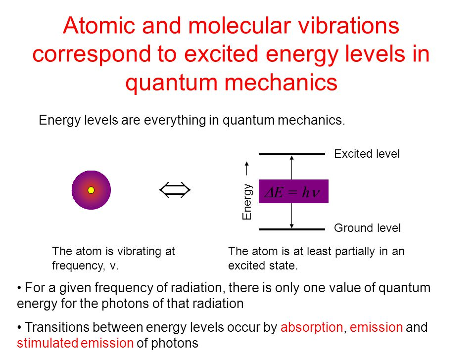 Atomic and molecular vibrations correspond to excited energy levels in quantum mechanics