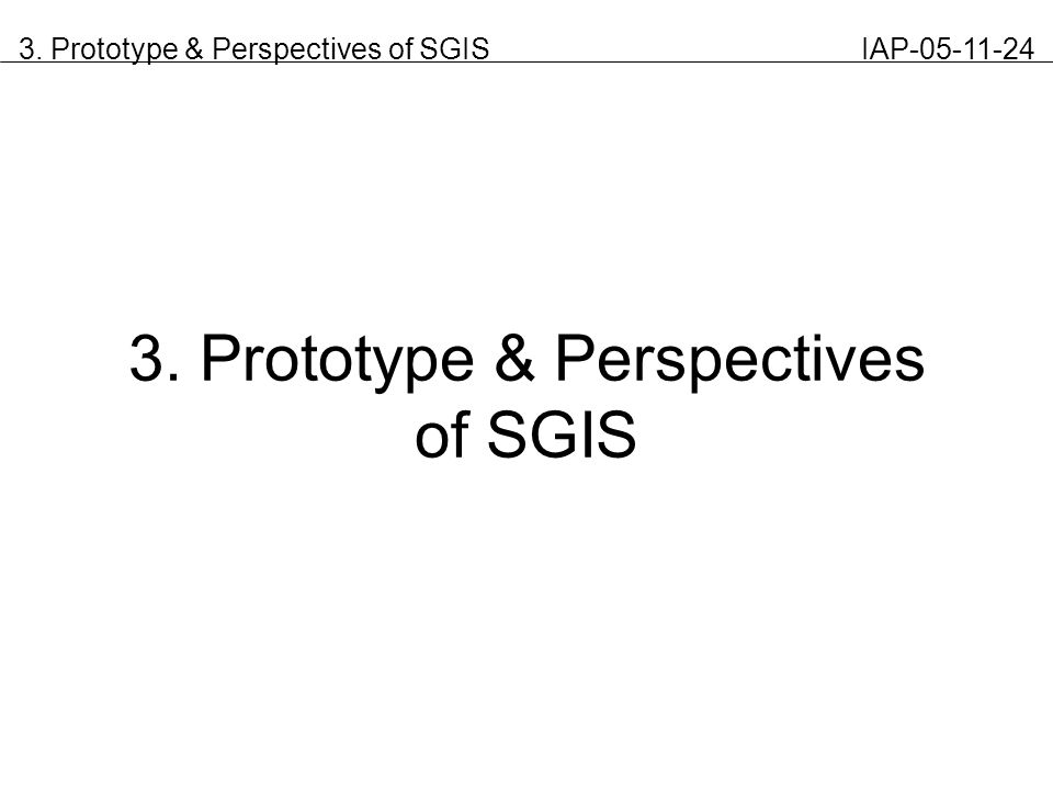 3. Prototype & Perspectives of SGIS