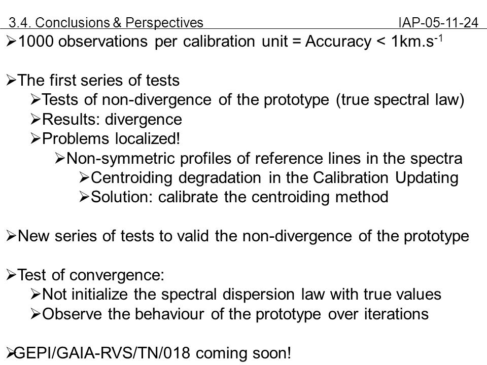 3.4. Conclusions & Perspectives IAP-05-11-24