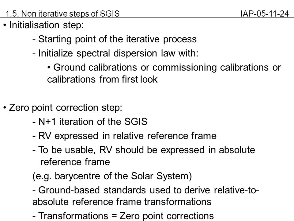 1.5. Non iterative steps of SGIS IAP-05-11-24