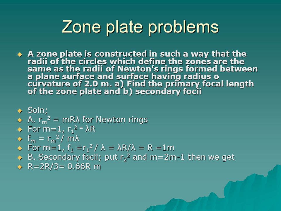 Zone plate problems