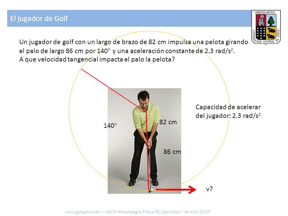 El jugador de Golf Un jugador de golf con un largo de brazo de 82 cm impulsa una pelota girando.
