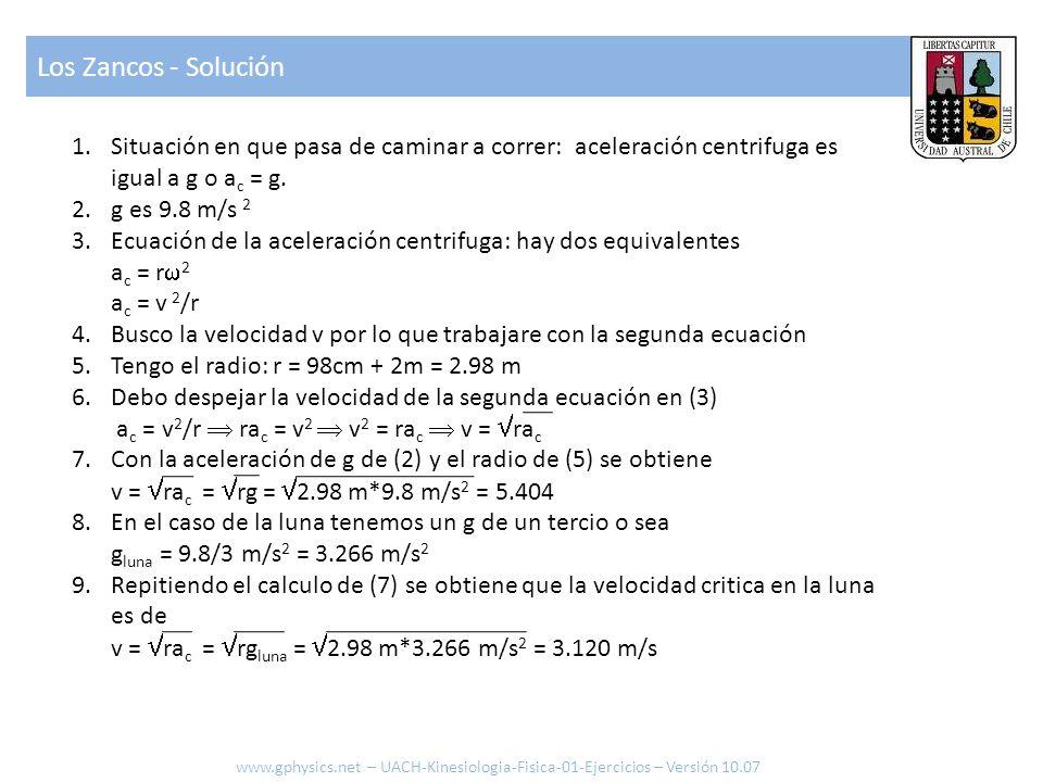 Los Zancos - Solución Situación en que pasa de caminar a correr: aceleración centrifuga es igual a g o ac = g.