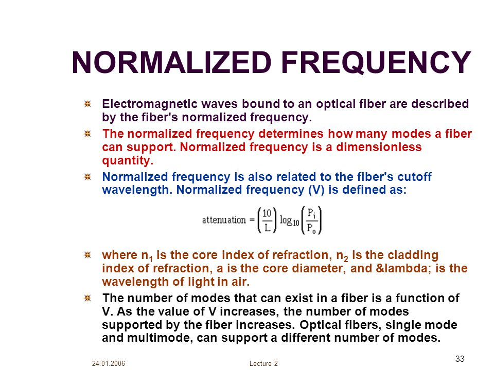 NORMALIZED FREQUENCY Electromagnetic waves bound to an optical fiber are described by the fiber s normalized frequency.