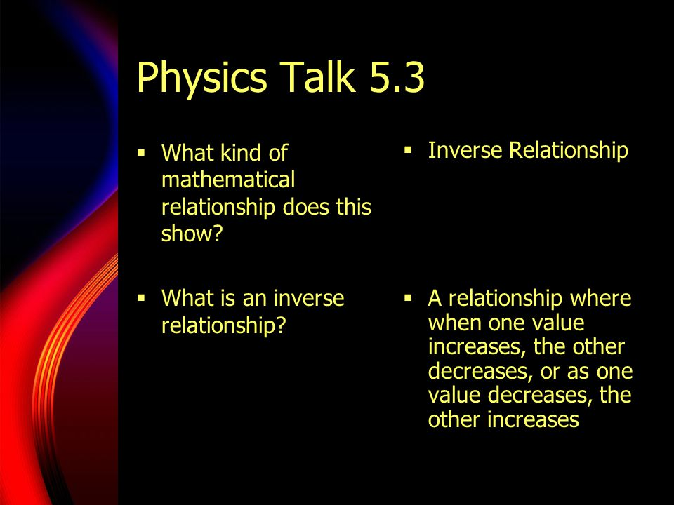 Physics Talk 5.3 What kind of mathematical relationship does this show What is an inverse relationship