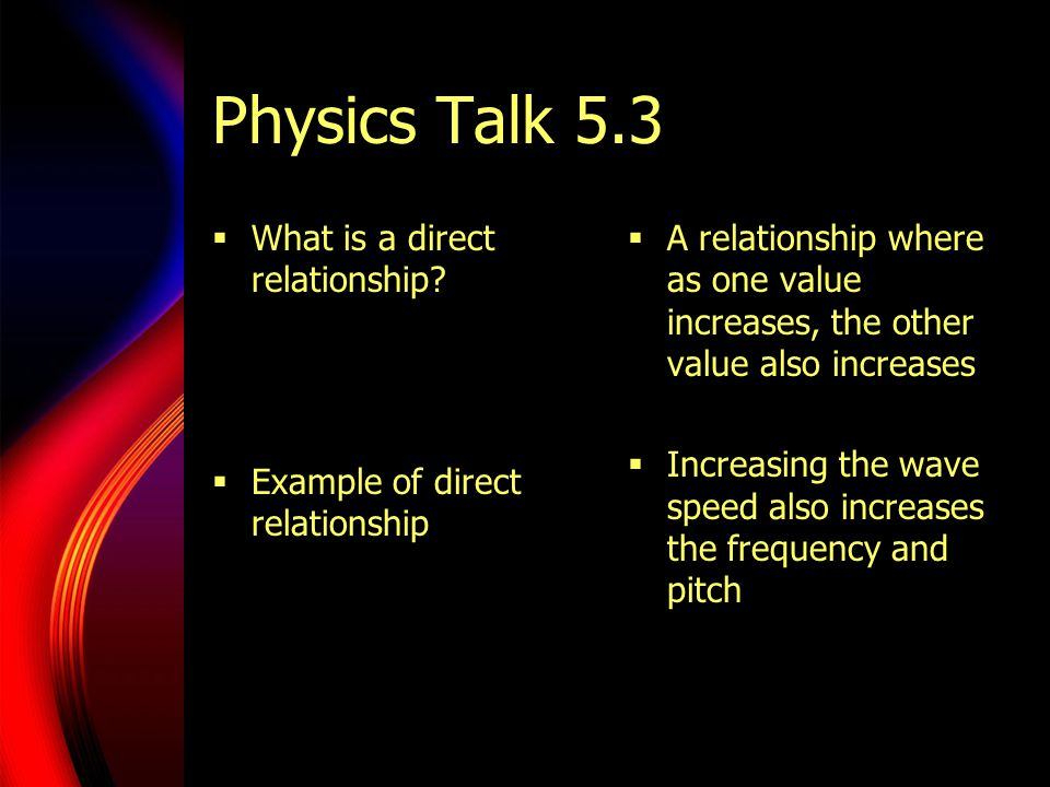 Physics Talk 5.3 What is a direct relationship