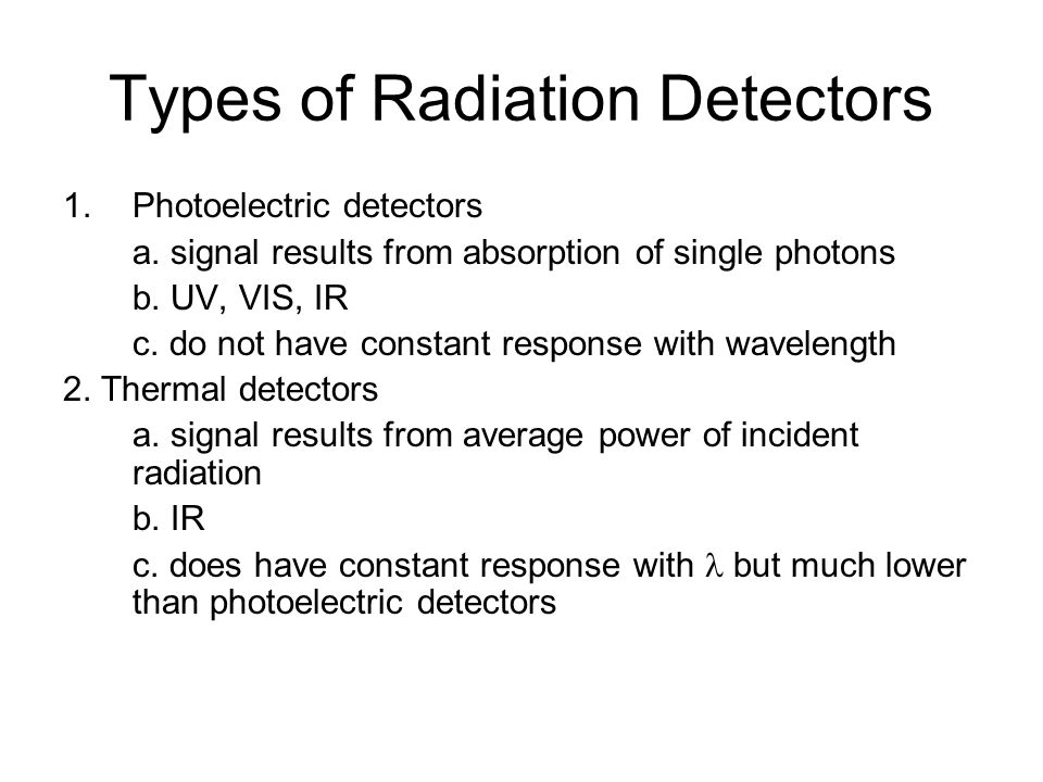 Types of Radiation Detectors