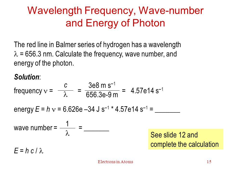 Wavelength Frequency, Wave-number and Energy of Photon