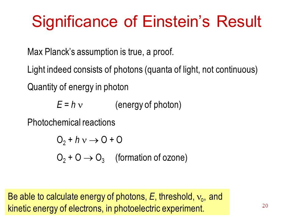 Significance of Einstein's Result