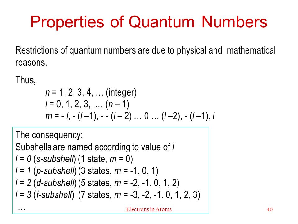 Properties of Quantum Numbers