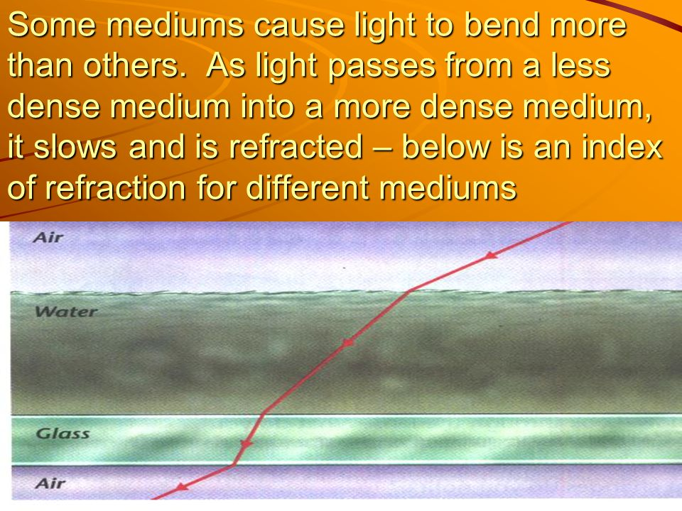 Some mediums cause light to bend more than others
