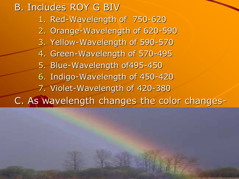 C. As wavelength changes the color changes-