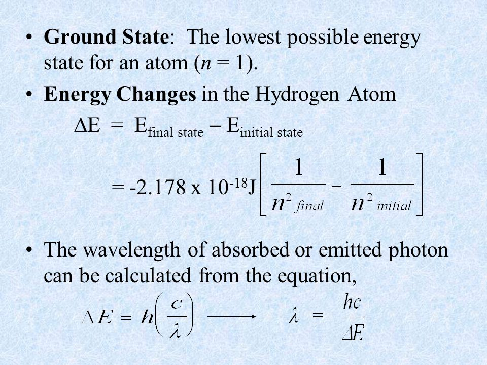 Ground State: The lowest possible energy state for an atom (n = 1).