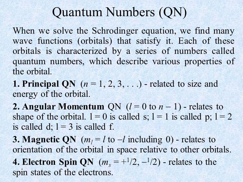 Quantum Numbers (QN)