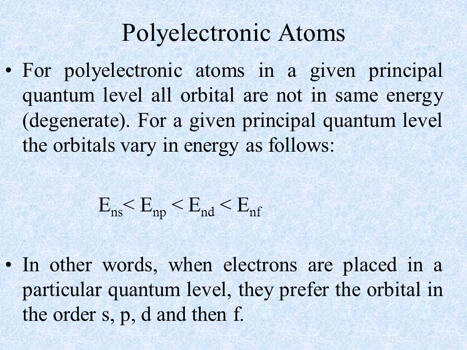 Polyelectronic Atoms