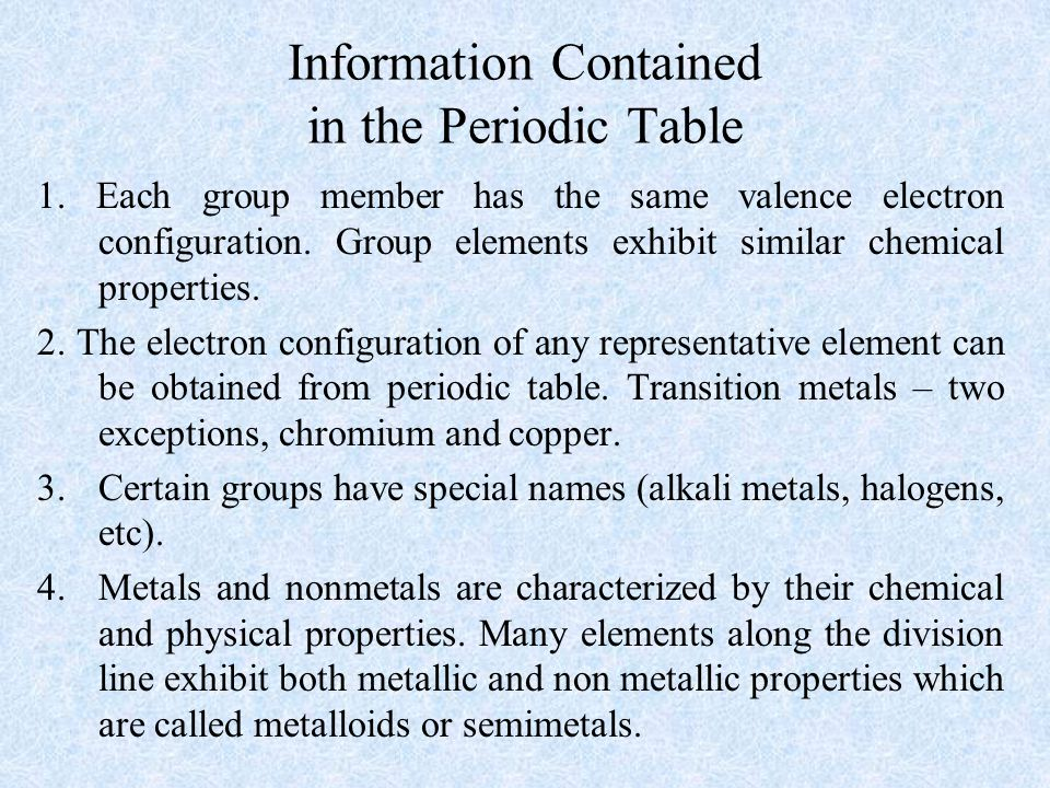 Information Contained in the Periodic Table