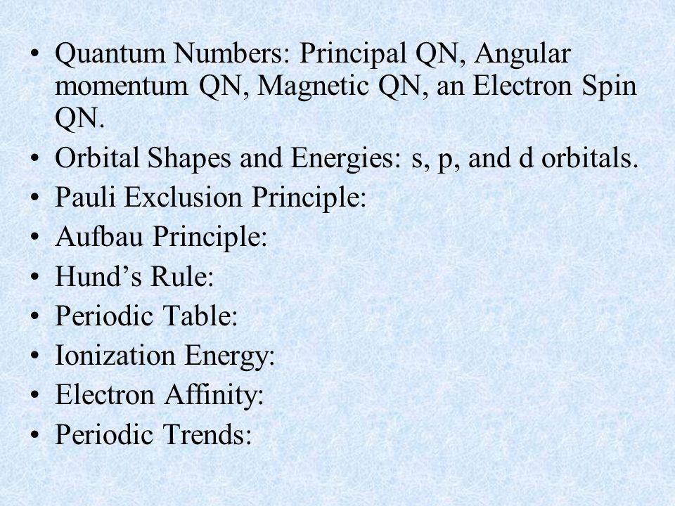 Quantum Numbers: Principal QN, Angular momentum QN, Magnetic QN, an Electron Spin QN.