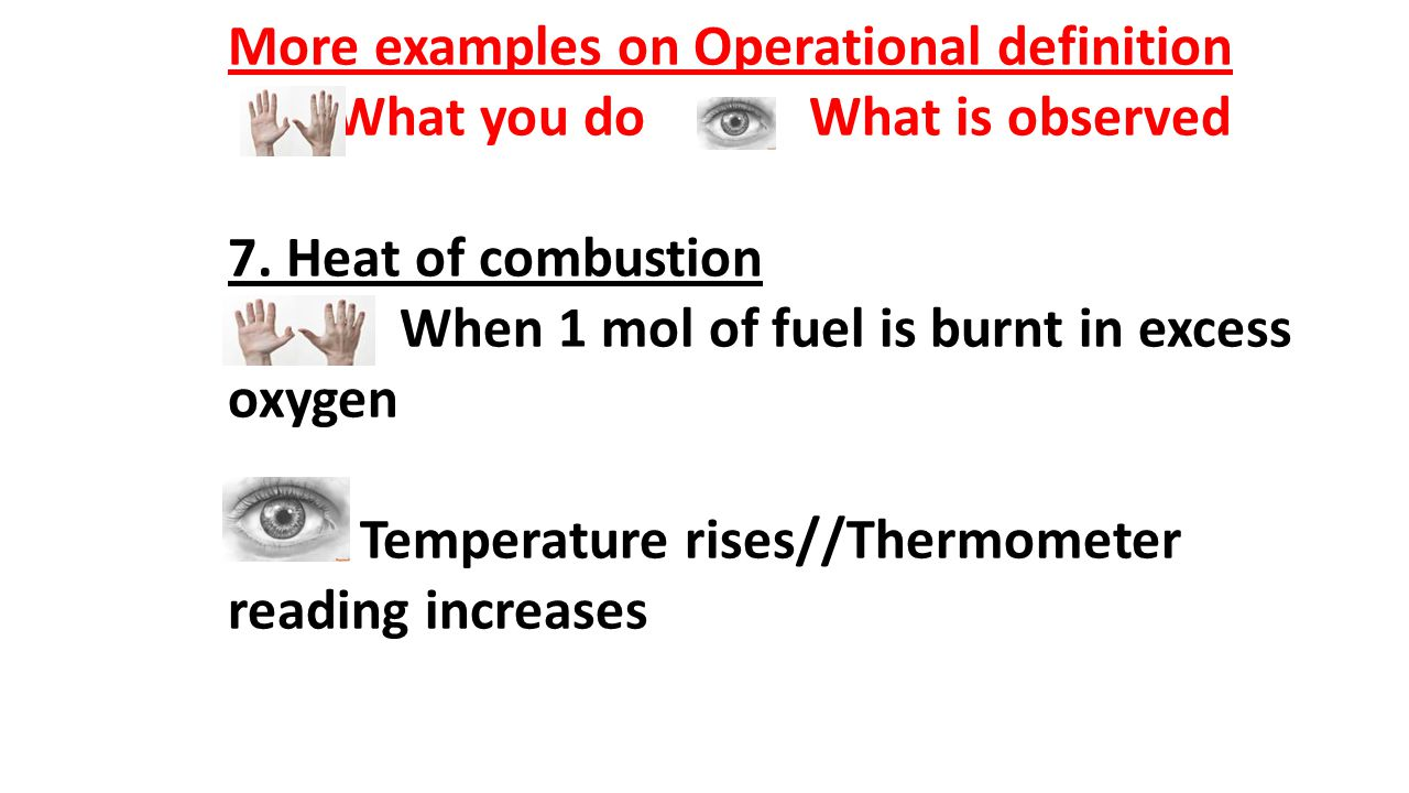 More examples on Operational definition
