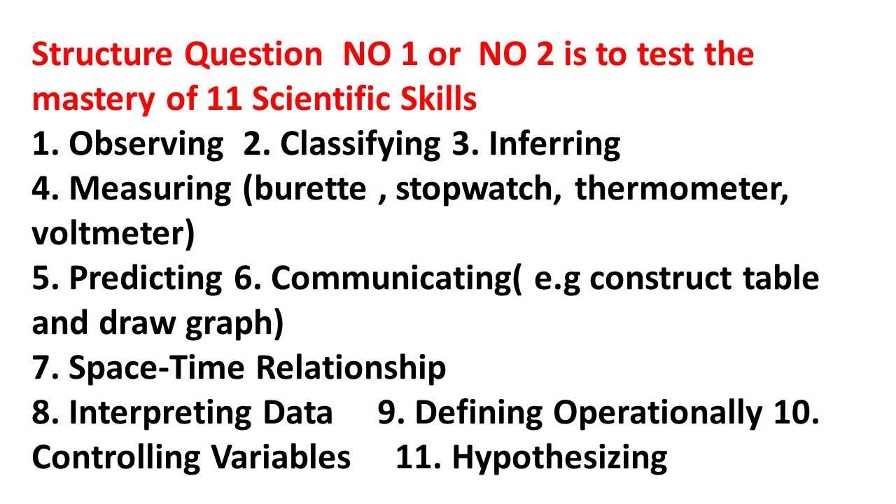 Structure Question NO 1 or NO 2 is to test the mastery of 11 Scientific Skills