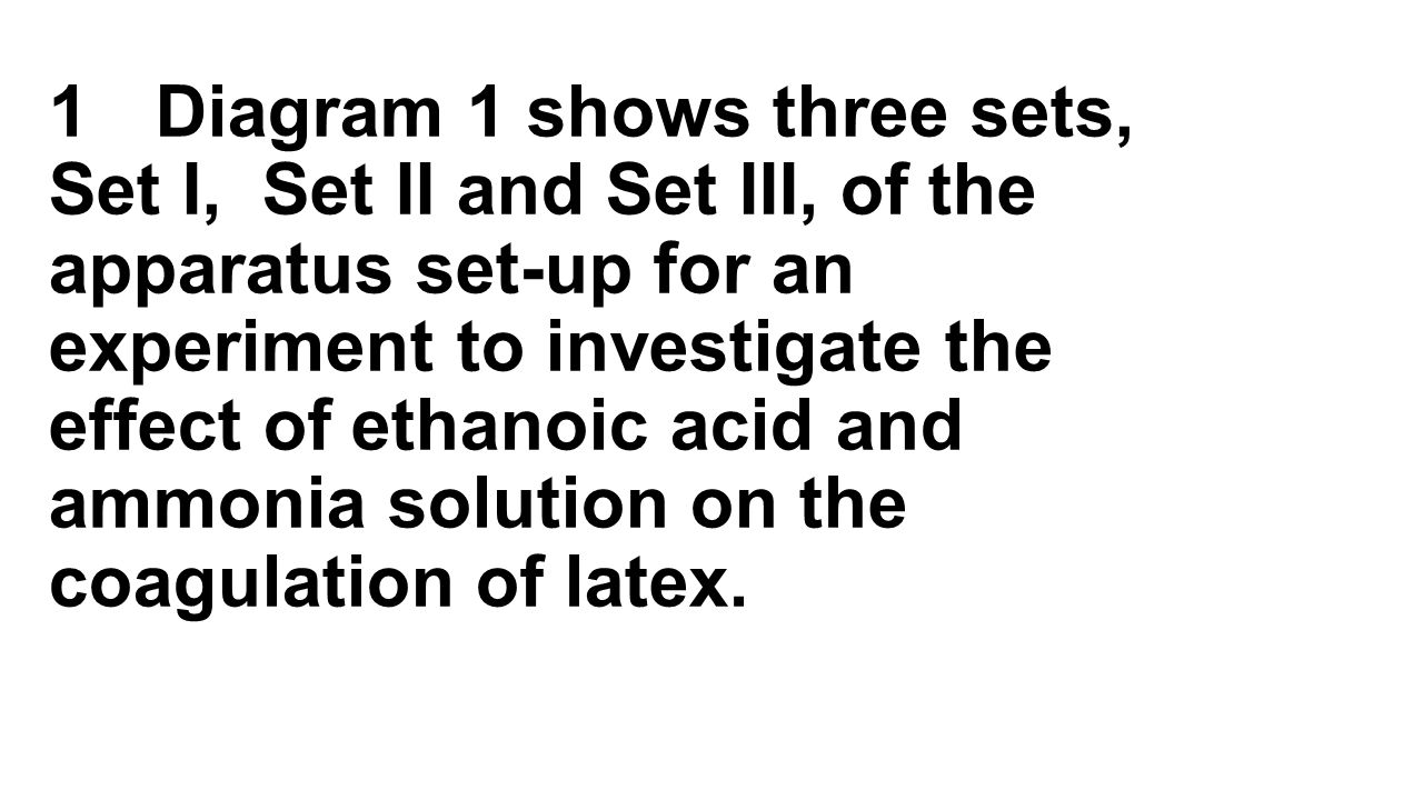 1 Diagram 1 shows three sets, Set I, Set II and Set III, of the apparatus set-up for an experiment to investigate the effect of ethanoic acid and ammonia solution on the coagulation of latex.