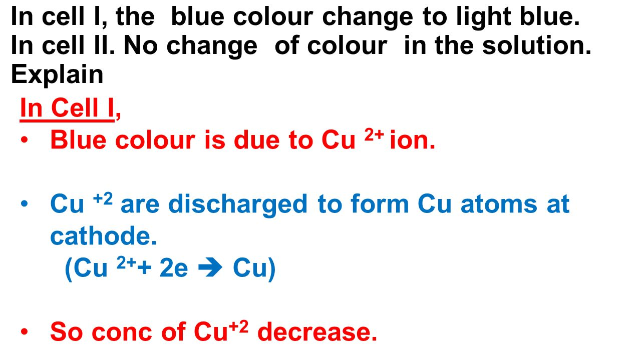 In cell I, the blue colour change to light blue. In cell II