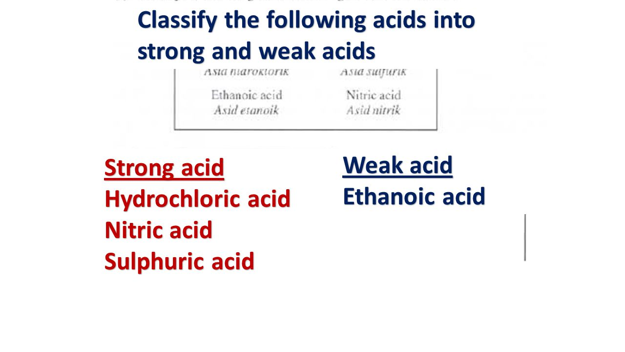 Classify the following acids into strong and weak acids