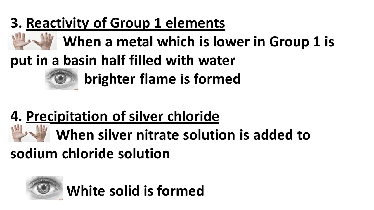 3. Reactivity of Group 1 elements