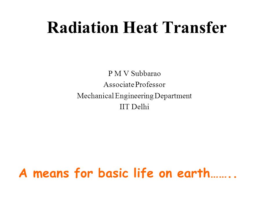 Radiation Heat Transfer