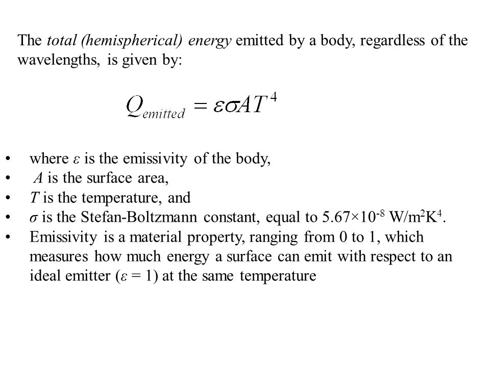 The total (hemispherical) energy emitted by a body, regardless of the wavelengths, is given by: