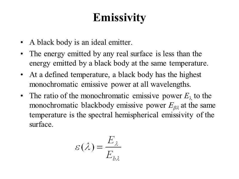 Emissivity A black body is an ideal emitter.
